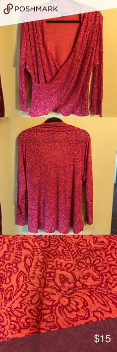 """Lucky brand wrap blouse size 1X Approx 26"""" shoulder to hem and 24"""" armpit to armpit. Coral/pink. Very good condition. Lucky Brand Tops"""