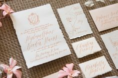 Calligraphy wedding invitations | Mikkel Paige Photography + @thelandings1 | see more on: http://burnettsboards.com/2015/06/st-lucia-destination-wedding/
