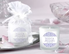Lavender Personalised Wedding Candle Favours