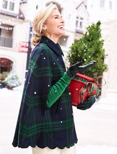 Shop Talbots for modern classic women's styles. You'll be a standout in our Scallop-Hem Cape - Black Watch Plaid - only at Talbots! Preppy Outfits, Preppy Style, Cute Outfits, My Style, Tweed, Fall Winter Outfits, Autumn Winter Fashion, Winter Wear, Fall Fashion