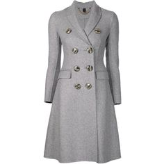 Burberry Prorsum single breasted back slit coat found on Polyvore featuring outerwear, coats, grey, gray coat, grey coat, single breasted coat, cashmere coat and burberry