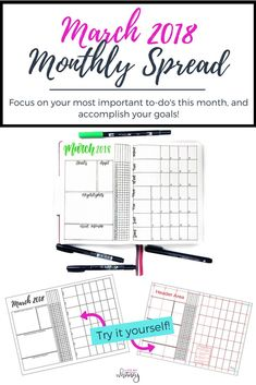 """A new monthly spread to help you keep up with your monthly appointments and goals. Track your """"Must-Do's"""", monthly favorites & highlights, and 5 habits on the left page, and track your Daily Do's and calendar tasks on the right page.  Print the My Version for quick use, or use the measurement files to transfer into your own journal."""