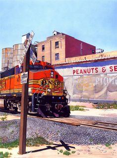"""Portales Train."" Gouache, 13.5""x20"""