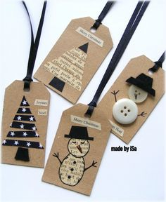 Simple kraft tags using buttons