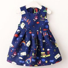 Girls Dress New Girls Clothes Sleeveless Family Printing Children Clothing