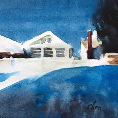 """Watercolor landscape painting #houses in a #sunnyday #watercolor on #strathmorepaper #instaart #instagood #instaartist #instadaily #yongchen this watercolor painting is 5x5"""". #video #watercolor #lesson is coming out on #youtube under @enjoyingart soon."""