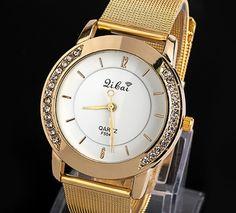 Damski Zegarek Złoty HIT Blogerek cyrkonie GOLDEN GLAMOUR GIRL Gold Watch, Rolex Watches, Vogue, Accessories, En Vogue, Jewelry Accessories