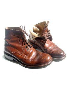 vintage italian lace up ankle shoes brown  us8.5  by lesclodettes, $120.00