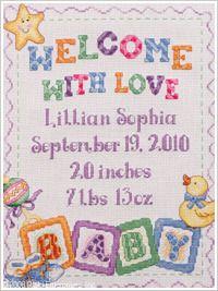 Baby Blocks Birth Record Cross Stitch kit