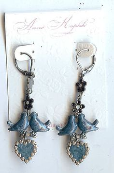 Vintage Stylish Signed Anne Koplik Pair Earrings Pierced Love Birds UNWORN | eBay