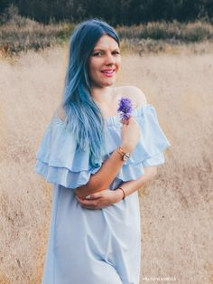 Baby blue hair and off the shoulder pastel dress. Fashion and lifestyle blogger melodylaniella, photography. Outfit, lookbook, ootd. #off #shoulder #pastel #dress #color #hair #hairstyle #pastelhair #ombre #bluehair #photography #outfit #gold #inspiration #flowers #fashion #style #ootd #lookbook #melodylaniella #fashionblogger #lifestyle #blogger