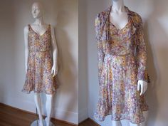 Vintage Floral Printed Silk Chiffon Dress and by FioreAtelier, $130.00