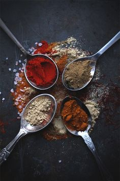 Whenever I browse through Pinterest, I find myself always stopping and staring at images of spices. There's something about the colorful little mounds, scattered on top of dark surfaces, that is so visually appealing to me. It's like an edible mosaic is created. With the bright and bold hues that are incorporated into this month's