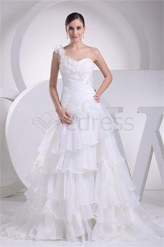 White One Shoulder Empire Brush/ Sweep Train Satin Corset-back Wedding Dress http://www.SzWedress.com/White-One-Shoulder-Empire-Brush-Sweep-Train-Satin-Corset-back-Wedding-Dress-p19285.html