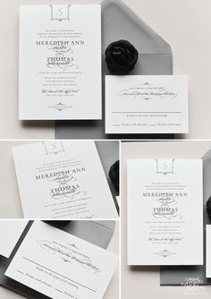 Black, white, and grey wedding invitations with vintage frame detail and monogram. Printed on cotton paper. Designed by Sincerely, Jackie #blackandwhite #wedding #invitations
