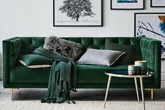 Shop our Sheridan Hartleigh Diamond Buttoned Sofa in forest. Shop online for free shipping Australia wide. Sofa Bed Australia, Decor, Home, Green Sofa, Sofa, Furniture, Green Home Decor, Room, Living Room Furniture