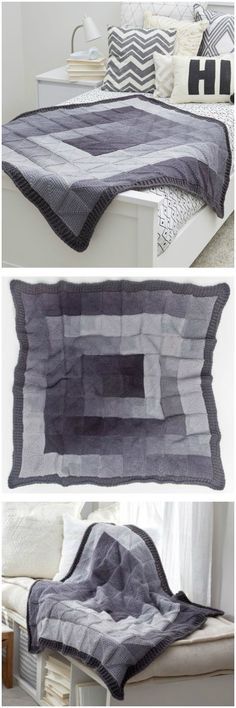 Modern Squares Throw Free Knitting Pattern Free Crochet Blanket Patterns Free Patterns