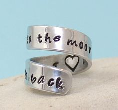 I Love You to the Moon and Back Ring  Personalized by keepWEARME, €7.50