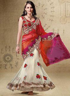 Cbazaar Elegant Tri Colored Lehenga Style Saree