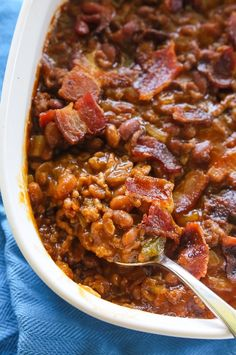 The Best Baked Beans - hearty and thick, simmering in a savory sauce.