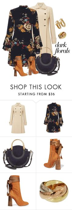 """dark florals"" by georgine-d ❤ liked on Polyvore featuring Miss Selfridge, Chloé and Cartier"