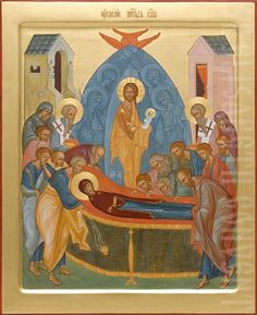 An icon of the Dormition of the Mother of God painted to order using tempera or acrylic paints. The Icon Painting Studio of St Elisabeth Convent will paint any Orthodox icon for you tailored to your own preferences Hand Carved, Hand Painted, Byzantine Icons, Painting Studio, Orthodox Icons, Tempera, Religious Art, Drake, Holi