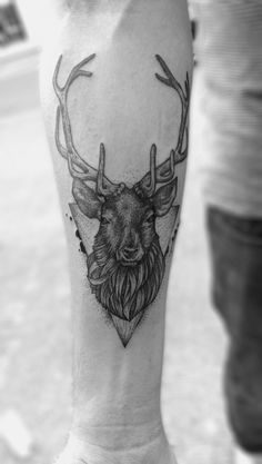stag tattoo ,dotwork, stag