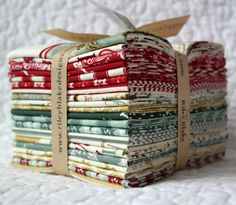 This listing is for 1 - Fat Quarter Bundle of the antique style Christmas collection Postcards for Santa by My Minds Eye for Riley Blake