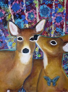 Friends Forever, deer, animal lovers, deer lovers, prints, mixed media painting, pink, purple, blue, animals, friends, birthday gift, by starlaranellart on Etsy