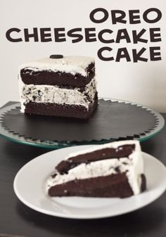 Oreo Cheesecake Cake by Erins Food Files plus a few other Oreo recipes Oreo Cheesecake Cake, Cheesecake Recipes, Dessert Recipes, Oreo Cake, Cheesecake Pudding, Oreo Dessert, Chocolate Cheesecake, Chocolate Cake, Just Desserts