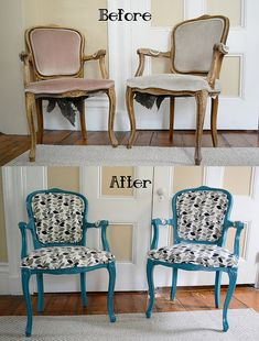 Craigslist DIY Chair Makeover- Painted, Glazed, and Upholstered by TheatreDork25, via Flickr