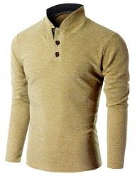 Doublju Men's Long Sleeve China Collar Henley Neck T-shirt (KMTTL0155)