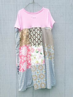 funky pink stripe floral cotton tunic upcycled by CreoleSha