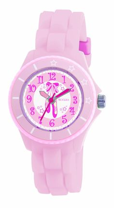 Tikkers Girls Baby Pink Ballet Slippers Rubber/Silicone Strap Watch