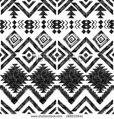 Black and white hand drawn tribal seamless pattern Stock Vector - 42419417 Geometric Fabric, Ethnic Patterns, Card Patterns, Free Vector Art, State Art, Abstract Pattern, Monochrome, Vibrant Colors, How To Draw Hands