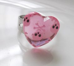 CLEARANCE resin pink heart with skulls by rabbitsillusions on Etsy, €1.00