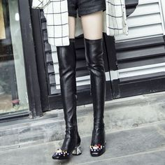 Chic Women Leather Over The Boots Side Zipper Low Chunky Heel Square Toe Shoes