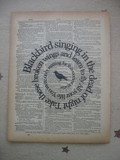 Blackbird Song -The Beatles Music Art Print - Vintage Dictionary Book Page Spiral Word Wall Art - Typography.