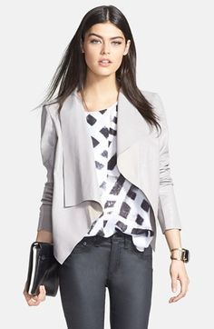 Trouvé Draped Lapel Leather Jacket available at #Nordstrom