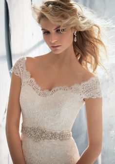 11033 Crystal Beaded Satin Belt - Mori Lee - ornate wedding sash