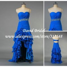 Real Photos R1008 Beaded Sweetheart Open Back Chiffon Royal Blue High Low Hem Prom Dresses on AliExpress.com. $139.00 love it