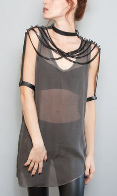 Shoulder Piece with Black Leather, Chain, Studded Detail & Arm Cuffs on Etsy, $309.00