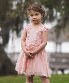 Loving this Blush Lace Accent A-Line Dress - Kids & Tween on #zulily! #zulilyfinds