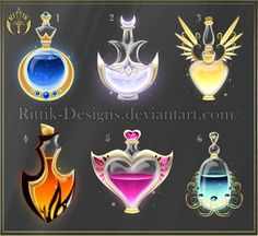 All are sold to --------------------------------------------- Artwork, Design, & Intellectual property ©Rittik-Designs DO NOT edit, trace, copy. Anime Weapons, Fantasy Weapons, Fantasy Jewelry, Fantasy Art, Magia Elemental, Character Art, Character Design, Magic Bottles, Magic Symbols