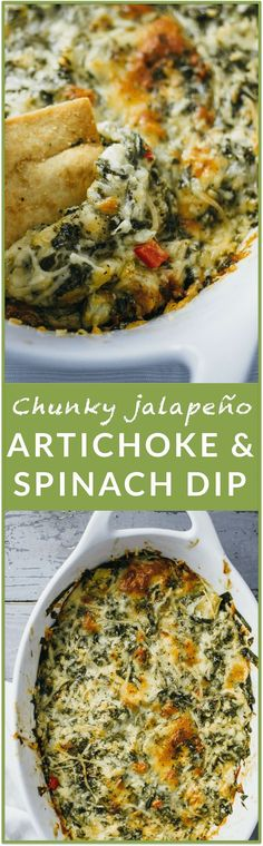 Chunky jalapeno artichoke and spinach dip - This is the BEST EVER artichoke and spinach dip. If you're looking for an easy, fuss-free version of this classic dip, you can stop right now. You've found it. This recipe is so simple and I love how there isn't
