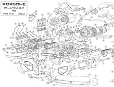 porsche 911 engine drawings | ... Harley-Davidson engine | Porsche 356B Carrera four-cam engine