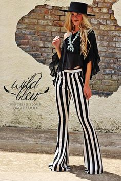 - High-Waist Striped Bell Bottoms - Pockets - HIdden Back Zip - 5% Spandex For Stretch - Made in America XS S M L Waist 26 29 32 34 Hips 32 35 38 40 Length 35 36 36 36