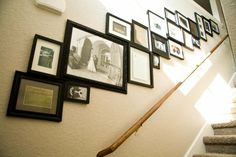 gallery wall...something like this will go on the wall down to the basement.  Thank you @miss shawna :)