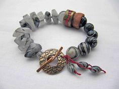 Scribed  Handmade Beaded Bracelet Art Bead by somethingtodo, £47.50