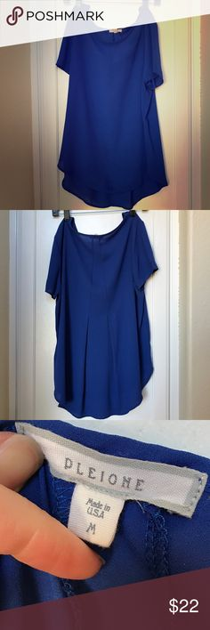 Blue Nordstrom blouse Blue blouse, loose/flowing fit with pleating to back. Like-new, just had this dry cleaned and only wore it once. I just have too many work tops. From Nordstrom. 100% polyester Pleione Tops Blouses